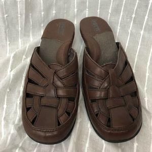 Born Braided Brown Leather Slip On Mule Sandal